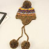 方法長い耳を搭載する冬によって編まれる女性の帽子の帽子