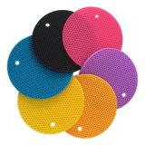 Couvre-tapis anti-calorique de Tableau de silicones de forme ronde de modèle de nid d'abeilles
