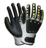 ニトリルのコーティングが付いている抵抗力があるTPRの反影響の安全作業手袋を切りなさい