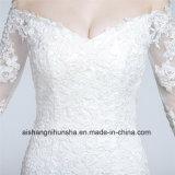 Мантия -Плеча платья венчания Mermaid шнурка сбор винограда Handmade Bridal