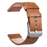 Unisexbrown-echtes Leder-Uhrenarmband mit Rahmen für Fitbit Flamme