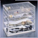 Caixa de jóia acrílica do preço do projeto novo baixa com 5 gavetas