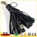 Zwei--Ein im ledernen Troddel-Schlüsselketten-Daten-Kabel mit USB-Aufladeeinheits-Kabel