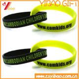 Bracelet solide coloré fait sur commande de silicium d'écran en soie en Chine (YB-LY-WR-15)