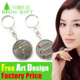 Promotion Shopping Trolley Coin Keyring with Metal Stick for Mothers