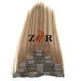 Pinza de pelo mongol drenada doble del color del piano en la extensión del pelo humano
