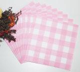 Servilleta de papel vendedora caliente colorida Checkered rosada para los restaurantes