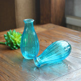 De oceaan Blauwe Smalle Vaas van de Fles van het Geribbelde Glas Mouthed Mini