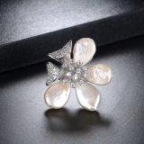 Boucle d'eau douce jaune réelle de bijou de perle de fleur de placage à l'or
