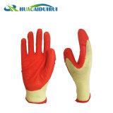 Cura poco costosa della mano dei guanti del lattice della piega del filato dell'arancio 21s