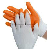 Оранжевый нитриловые покрытием трикотажные хлопка рабочие перчатки