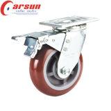 Hochleistungsschwenker 4inches PU-Rad-Fußrolle mit Metallgesamtbremse