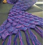 Il tessuto polare caldo del panno morbido scherza il commercio all'ingrosso della coperta della coda della sirena
