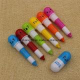 6つのカラーはプラスチック引き込み式のビタミンの球ペンを卸し売りする