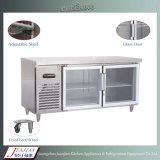 갈채를 보내는 유리제 문 스테인리스 상업적인 부엌 작업대 냉장고