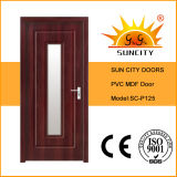 Porta de vidro de madeira interior do MDF do PVC da cidade de Sun (SC-P125)