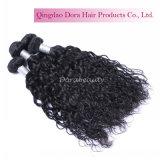 安い卸し売りインドの自然で黒いカーリーヘアーの織り方は拡張で縫う
