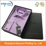 Rectángulo de papel de empaquetado de la insignia de la venta al por mayor del negro del papel de la cartulina del regalo de la camiseta de encargo del Mens (QYZ390)