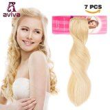 Eau de javel blonde couleur #613 Clip en cheveux humains d'extension Extension DE CHEVEUX BRÉSILIENS 14inch Hair Extension pour le plein la tête (AV-CHL07-14-613)