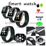 Téléphone intelligent de montre de Mtk2502 Bluetooth avec le moniteur du rythme cardiaque A9