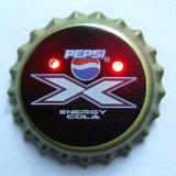 Cerveza de la botella Cap de luz LED parpadeante luz de reserva del cuerpo botones (3569)
