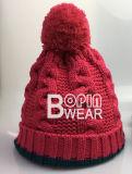 Señoras y girar el cable caliente tejer Beanie Hat con grandes POM