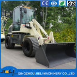 Marca Jieli 0,8 ton Pequeña granja cargadora frontal con las horquillas de tenazas para fardos