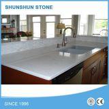 Pedra de quartzo branca artificial Cozinha Popular Bancada de Trabalho