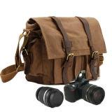 De uitstekende Zak van de Boodschapper van de Zak van de Camera van het Leer van het Canvas voor Camera DSLR en Lens