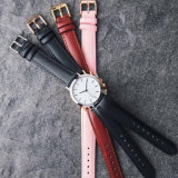 Correa de cuero personalizada de cuarzo analógico señoras reloj de pulsera de regalo