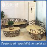 Neuer Edelstahl-Tee-Tisch der Art-3+2+1 mit Speziell-Geformtem Stuhl