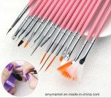 Conjunto de cepillos de madera del clavo del maquillaje de la herramienta de la decoración del clavo del cepillo de pintura del clavo de la maneta del pelo fino