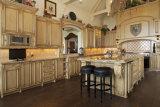 Gabinete de cozinha modular chinês da madeira contínua do tamanho