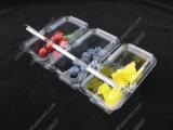 Los PP acarician la bandeja disponible clara del conjunto del alimento de la fruta de la ampolla de la cubierta