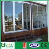 Grelha de vidro Windows do frame de alumínio com a lâmina Pnoc008lvw da espessura de 5mm