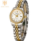 Lujoso Diamante Relojes De Cuarzo De Cuero Deporte De Negocios De Acero Inoxidable Impermeable De Reloj De Regalo De Amor De Moda