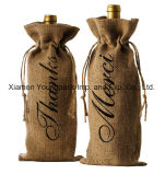 De manier personaliseerde de Enige Zakken van de Gift van de Wijn van de Jute van de Fles met Drawstring