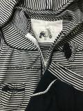 Vestito a strisce della tintura del filato per la neonata con il merletto del cotone