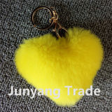 Girl Cute Rex Rabbit Fur Pompon Heart Shape Keychain