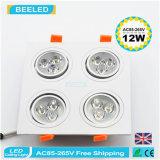 12W는 백색 사각 알루미늄 고성능 Dimmable LED Downlight를 냉각한다