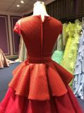 Rotes Abend-Kleid für Wedding mit abgestuftem Tulle