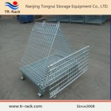 Gaiola galvanizada resistente do engranzamento de fio do metal do preço de fábrica com rodízio