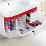 高品質のミラーのキャビネットが付いている白い木の浴室用キャビネットの単位