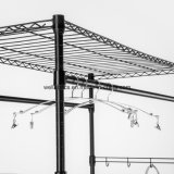 Espaço de bricolage guardar roupas de aço Roupeiro Rack com Rodas