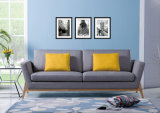 Sofá de linho cinzento dos assentos da tela três da mobília Home moderna (HC107)