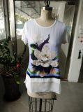 Spätestes Form-Dame-T-Shirt mit Blumen-Kleidung