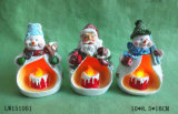 Xmas estatua Figurine Candle Holder decoración del hogar