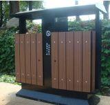 정원에서 옥외 대중적인 WPC 쓰레기통
