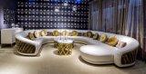 贅沢なイタリア様式の革およびファブリック混合された角のソファー