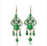 Piedra facetada verde Folk fino de la moda Bisutería joyas moda aretes aretes joyas (PE-015)